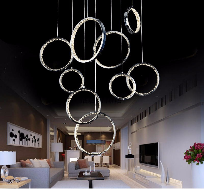 Modern stainless steel k9 crystal hanging LED pendant lamp for Villa