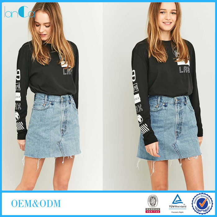 Cheap Denim Skirts for Women OEM Ladies Fancy Designs Short Denim Jeans Skirt LC8472-N