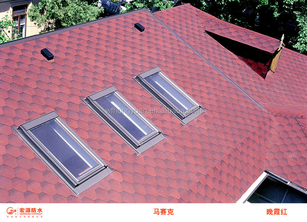 Red Mosaic Asphalt Shingles/ hexagonal roof tiles- Hot Sell in India