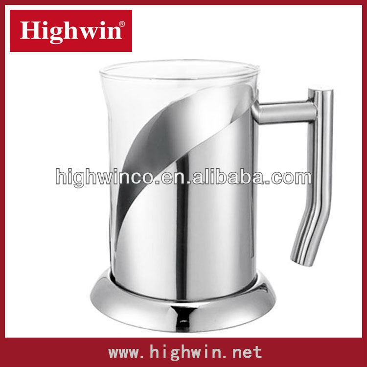 Stainless Steel Coffee Glass mugs and cups With Tray