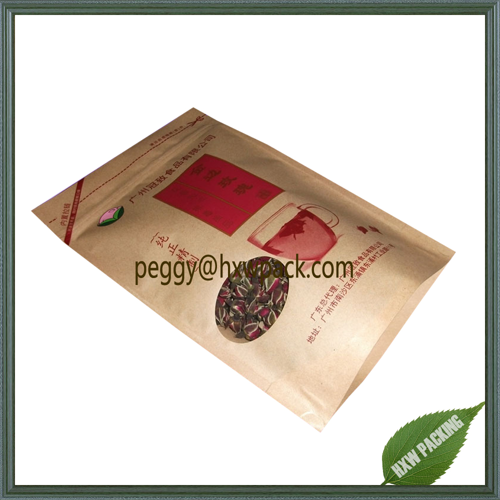 kraft paper bag for herbal tea packaging, stand up pouch dried flower tea paper bag