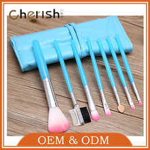 Shenzhen Cherish Eye Brush Set Blue 7pcs synthetic hair eyeshadow brush set with makeup brush bag