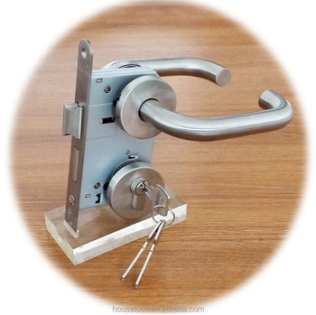 Good quality stainless steel fire-rated lever handle H10003 on rose for mortise door lock