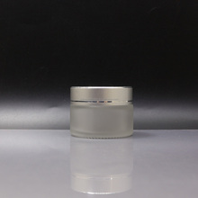 50ml frosted glass cosmetic jar with matte silver lid with printing avalible GJ-D5