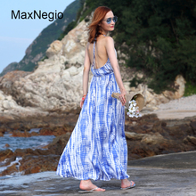 MaxNegio Lady Fashion Blue Printed Maxi Long Beach Dress Women Off Shoulder Halter Sexy Bodycon Backless Dress