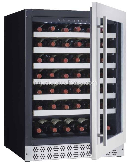 60 bottle stainless steel single zone compressor wine refrigerator