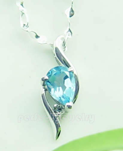 Topaz pendant Necklace pendant Natural blue topaz Free shipping 925 sterling silver Blue gem Fine jewelry