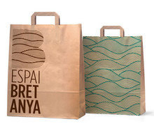 Machine Made Custom Logo Print Kraft Paper Shopping Bags