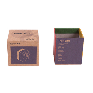 New Design Brown Kraft Paper Box Cardboard Square Packaging Box for Adapter