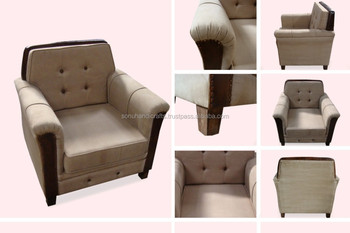 LEATHER CANVAS SOFA ONE SEATER