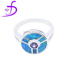 Custom design fashion jewelry wholesale 925 sterling silver mystic big opal attractive ring