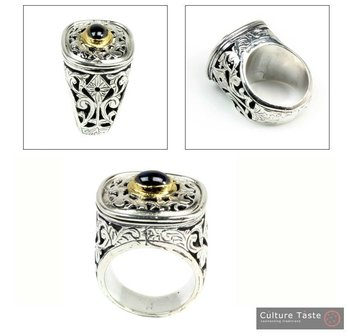 Byzantine-Medieval Ring ~ Sterling Silver, Gold Plated Silver & Tourmaline