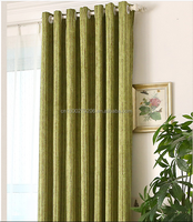 bright color green decorative grommet string sliding window curtains