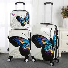 2017 new design beautiful butterfly PC trolley luggage abs printing set