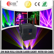 XHR 2000mw 2 watt RGB Indoor Stage Disco DJ Laser Lighting,ILDA Laser with sd card