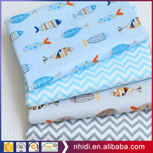 muslin baby bedding fabrics fishes printed cotton poplin