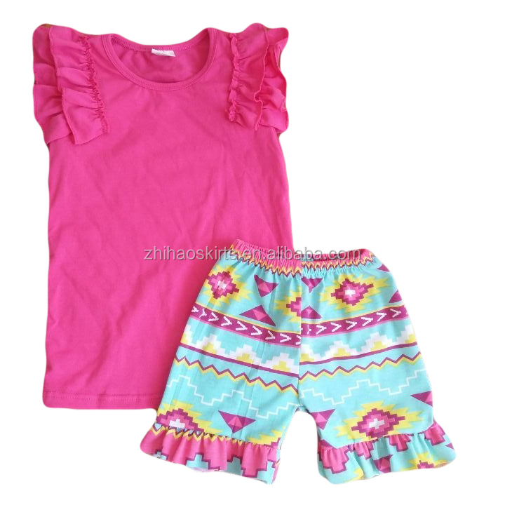 kids clothes wholesale china flutter sleeve with ruffle t-shirts match floral print shorts newborn outfits 2 piece outfit