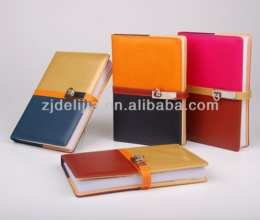 Hot selling large stock china made leather cover note books wirh lock
