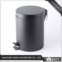 Hotel room round single Layer black cover metal waste bin, waste basket