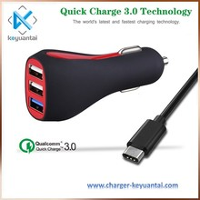 hot products 2017 30w universal car charger charging stations, 9v 2a three port car charger qualcomm 3.0 tablet charger