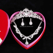 Crystal Necklace Crown Earrings 3 Pcs Jewelry Sets For Wedding Brides (Necklace+Earring+Crown) F3101 Big Fashion Necklace