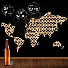 Map Of The World Wooden Art Wall Decoration Creative Bottle Beer Cap Map Wall Hanging Wood Crafts Beer Cap Collection