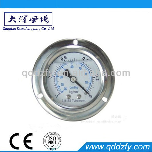 Back connection bourdon tube liquid filled pressure gauge