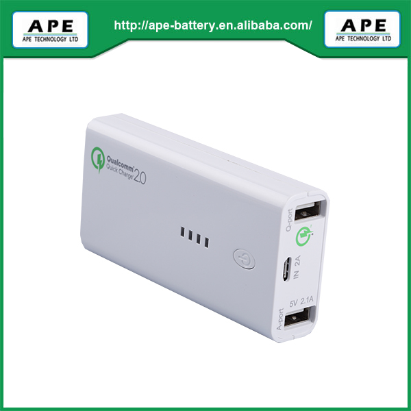 Dual output ports mobile power bank MP5200Q with qualcomm quick charger 2.0 system