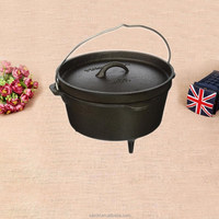 cast iron non enamel camping dutch oven with three legs