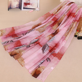 Yiwu Furui latest muslim long scarf viscose floral hijab summer shawls and wraps