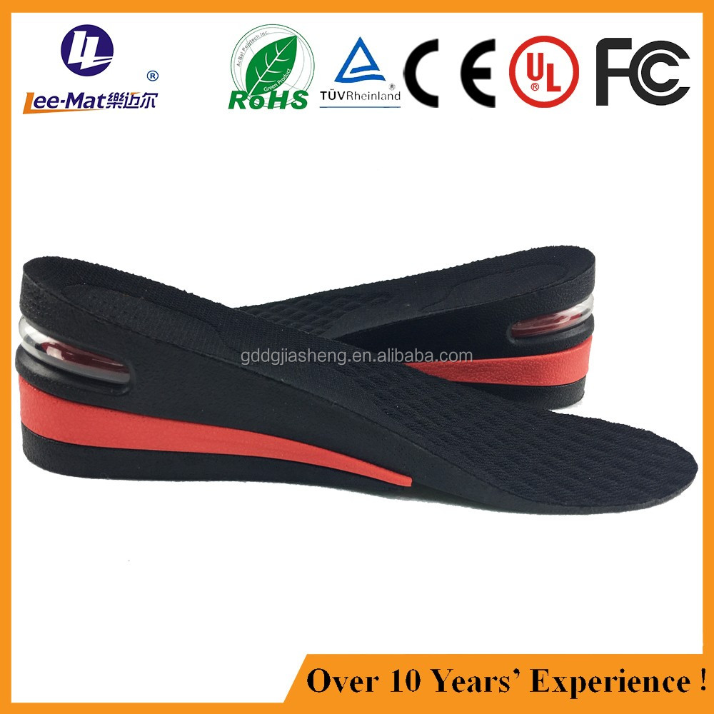 Premium pu heel lift 3 layers height increased inner sole with air cushion
