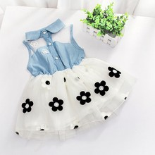 UNIKIDS 2016 New Summer Princess Baby <strong>Girl's</strong> Kids Denim Sleeveless Tops Tulle Tutu Mini <strong>Dress</strong> flower girl doll <strong>dresses</strong>