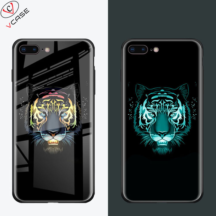 VCASE New Arrival Amazon <strong>Hot</strong> sale Luxury Tempered Glass Luminous Phone Case