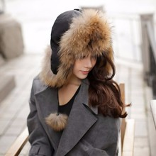 Factory Supply 2016 Beautiful Ladies Natural Raccoon Fur Lei Feng's Cap Real Animal Fur Hat