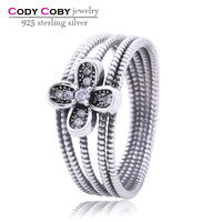 Wholesale New Design 925 Sterling Silver Women Wide Braided Ring With Flower Pave CZ Vintage Rings Jewelry Fashion