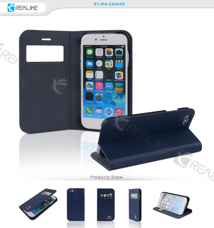 Clear window view leather cover case for Iphone 6, cell phone case for apple iphone