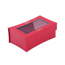 Compartments glossy cardboard gift box with transparent window