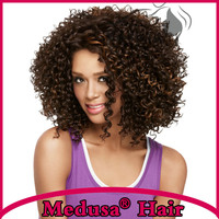Fashion Kinky Curly Brown Style Natural hair Mid-length Wigs For Black Women curly Wig Synthetic Hair Sw0444A