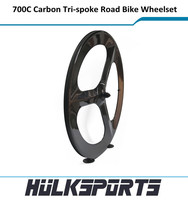HK-WT-70C-W23-RR Carbon Road Bike tri-spoke Rear wheels 700C Clincher V-Brake 23mm width 3K/UD wheelset custom