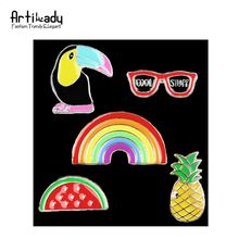 Artilady fashion colorful enamel natural crow pineapple rainbow style wholesale bulk brooch for women