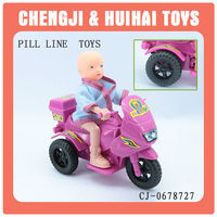 Wholesale cheap plastic mini doll pull line toys motorcycle
