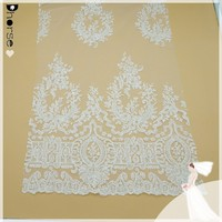 2015 New Fancy Off-white Embroidery Corded Beaded Bridal Lace Tulle Fabric