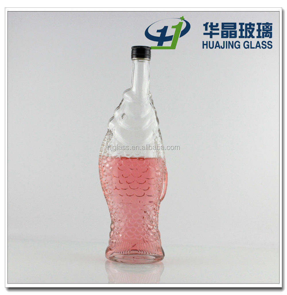 500ml Unique Fish Shaped Wine Glass Bottle With Metal Lid