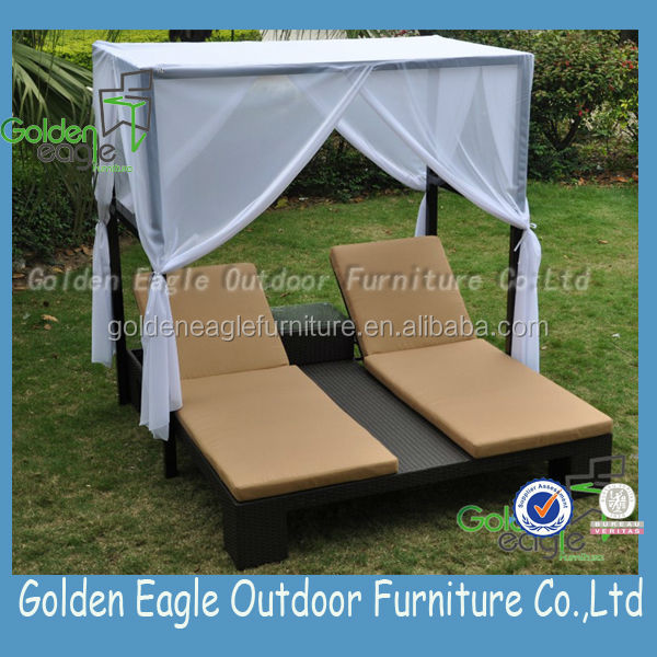 outdoor rattan chaise sun lounger with aluminum tube frame double sun lounger with canopy