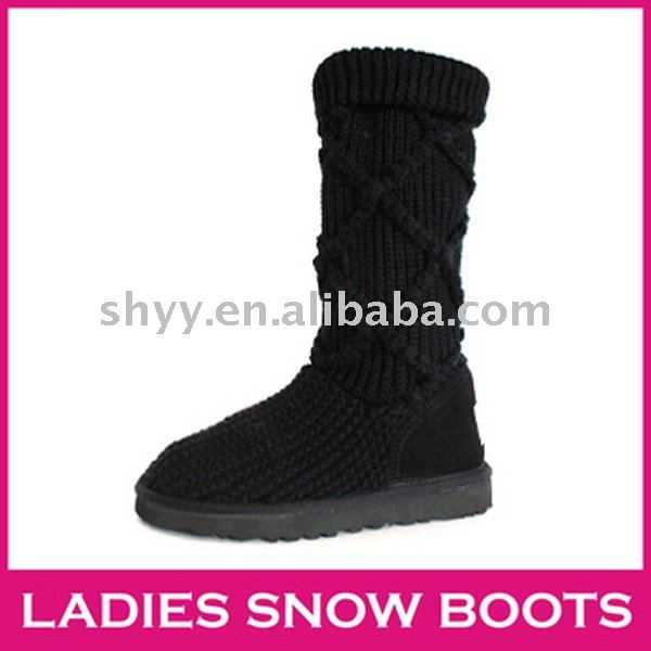 Tall women's knitted boots black classic Cardy snow boot