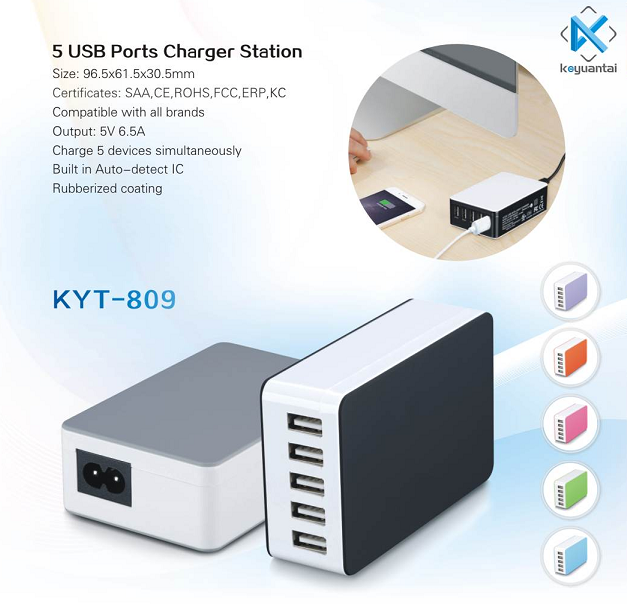 smart accessories multiple usb charger, 35W KC certification mobile phone charger qualcomm quick charge 3.0