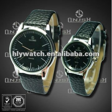 3ATM Waterproof Pair Black Leather Wrist Watch with Big Watch Face HLY-3003(2)