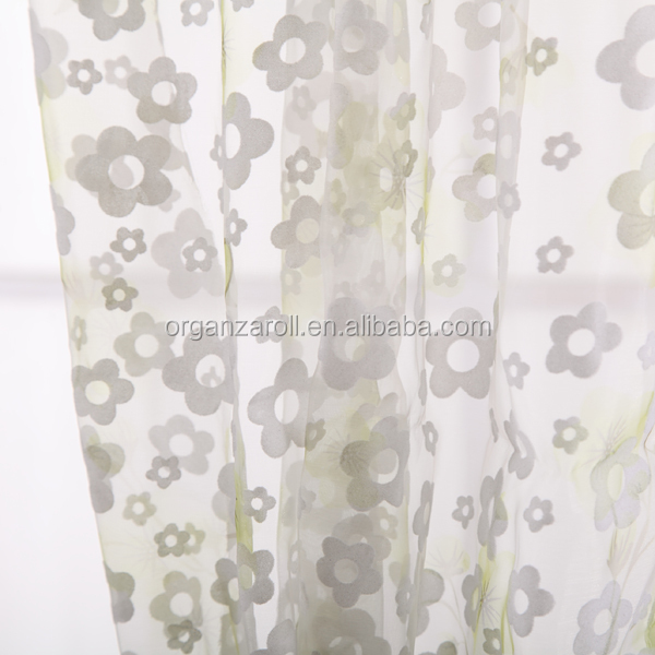 2015 Various Designs Flocking Brozing Glitter Printing Organza Curtain