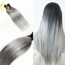 Factory Price Silver Grey Ombre Human Hair Extensions Straight Hair Two Tone Brazilian Virgin Hair Grey Weave