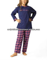 GIRLS KNITTED TOP AND FLANNEL PANT PAJAMA SET